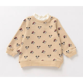 プティマイン(petit main)のプティマイン 110 ミッキー&ミニーデザイン レイヤード風総柄トレーナー(Tシャツ/カットソー)