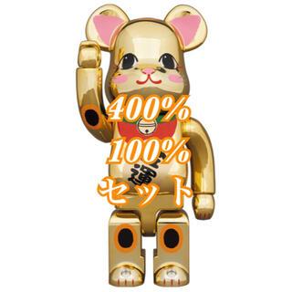 メディコムトイ(MEDICOM TOY)の2セット BE@RBRICK 招き猫 金運 金メッキ 弐 400%&100% (その他)
