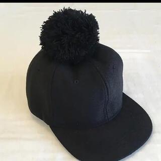 プティマイン(petit main)の50cm ポンポンキャップ #ブラック キッズ 帽子(帽子)