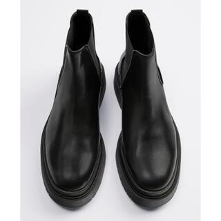 ザラ(ZARA)のZARA リアルレザーチャンキーブーツ 27.6cm(ブーツ)