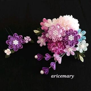 正絹 紫のつまみ細工髪飾り(ヘアアクセサリー)