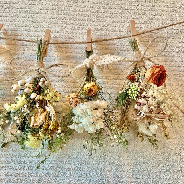 お花たっぷりドライフラワー スワッグ ガーランド❁138黄色ローズ薔薇 花束♪ ハンドメイドのフラワー/ガーデン(ドライフラワー)の商品写真