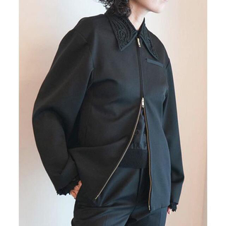 mame - mame / Embroidered Collar Zip Up Jacket