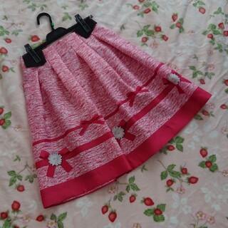 エムズグレイシー(M'S GRACY)のピンク花柄スカート 38(ひざ丈スカート)