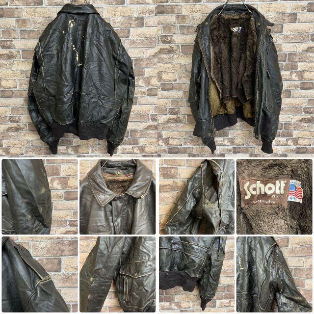 schott(ショット)の●ショット●A-2タイプ レザーフライトジャケット 80s ライナー USA製 メンズのジャケット/アウター(レザージャケット)の商品写真