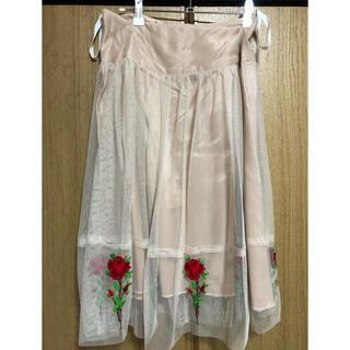 アナスイ(ANNA SUI)のANNA SUI 薔薇 刺繍スカート SALE(ひざ丈スカート)