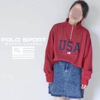 ラルフローレン(Ralph Lauren)の【超激レア!】90s POLO SPORT 星条旗 USAロゴ 赤 スウェット(トレーナー/スウェット)
