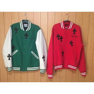 クロムハーツ(Chrome Hearts)の最終値下げleather cross custom  jacket red(スタジャン)