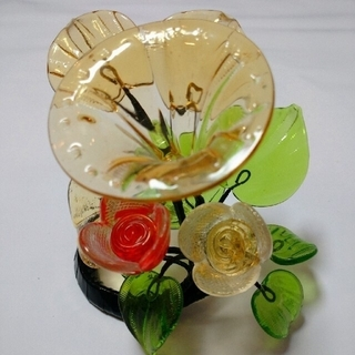 新品 琉球ガラス 花  ガラス細工(置物)