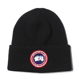 カナダグース(CANADA GOOSE)のカナダグース ARCTIC DISK TOQUE ニットキャップ 黒 新品(ニット帽/ビーニー)