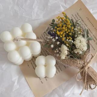 ミモザのミニブーケとボンボンキャンドル のギフトボックス 韓国インテリア(アロマ/キャンドル)