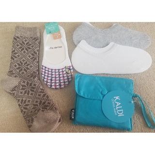 女性用靴下4足 + KALDIエコバッグ(ソックス)