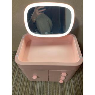 ミラー LEDライト メークボックス 化粧ボックス 化粧品入れ メーク用品収納(メイクボックス)