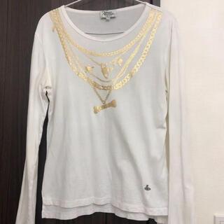 ヴィヴィアンウエストウッド(Vivienne Westwood)のヴィヴィアンウエストウッド ロンT カットソー 白 オーブ柄(Tシャツ/カットソー(七分/長袖))