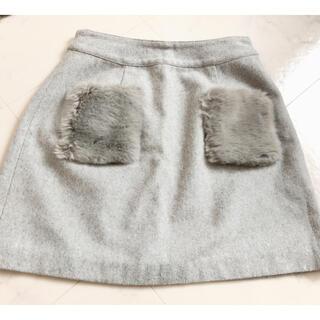ロディスポット(LODISPOTTO)のロディスポット   ミニスカート   ポケット   ファー   グレー  台形(ミニスカート)