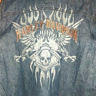 ハーレーダビッドソン(Harley Davidson)のハーレーダビッドソン デニムシャツ ジャケット スカル 刺繍 大きいサイズ L(Gジャン/デニムジャケット)