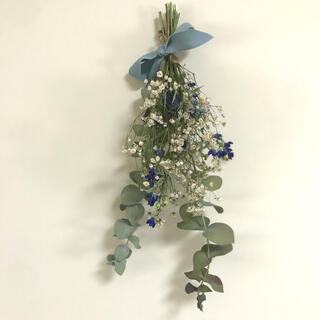 ブルー × ホワイト ドライフラワー スワッグ ナチュラル雑貨 北欧インテリア(ドライフラワー)