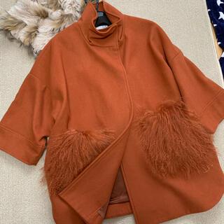スコットクラブ(SCOT CLUB)のFENNEL フェンネル ファーポケット付き七分袖コート オレンジ スコット(毛皮/ファーコート)