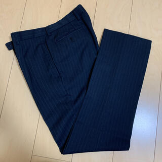 本日限定 明日処分スラックス パンツ  ブラック ストライプ(スラックス/スーツパンツ)