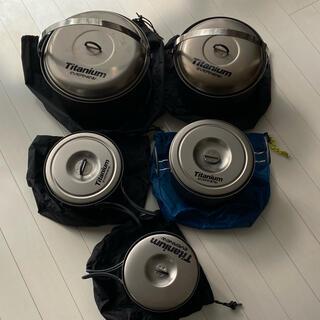 エバニュー(EVERNEW)のエバニュー チタン製クッカー 5セット(調理器具)