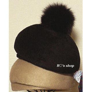 CA4LA - 新品タグ付 CA4LA ファー ポンポン ベレー帽 黒 カシラ 帽子 レディース