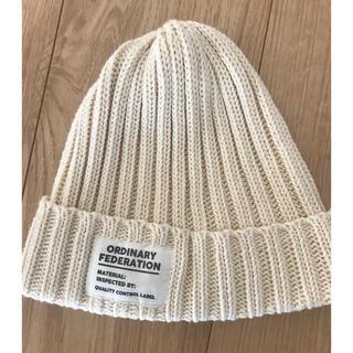 オールオーディナリーズ(ALL ORDINARIES)のタグ ニット帽  オフホワイト(ニット帽/ビーニー)