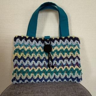 大人かわいい♫手編みのレビューブックカバー 看護 ブルー系ストライプ (ブックカバー)