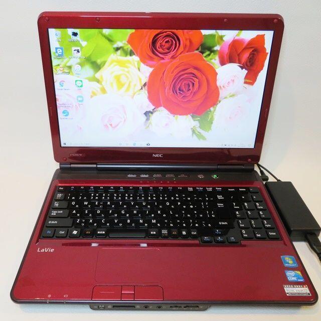 NEC(エヌイーシー)の【美品】赤/NEC/ノートパソコン/大容量/すぐに使える スマホ/家電/カメラのPC/タブレット(ノートPC)の商品写真