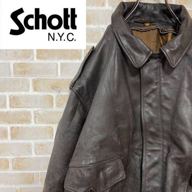 schott(ショット)の●ショット● 684SM レザージャケット リアル 本革 ブラウン usa製 メンズのジャケット/アウター(レザージャケット)の商品写真