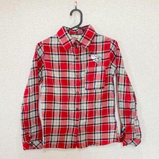 ピーナッツ(PEANUTS)のPEANUTS ピーナッツ スヌーピー チェックシャツ S(シャツ/ブラウス(長袖/七分))