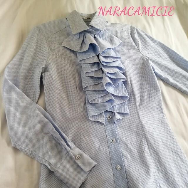 NARACAMICIE(ナラカミーチェ)の春にピッタリ!ナラカミーチェ☆水色 フリル ドット ブラウス Ⅰ レディースのトップス(シャツ/ブラウス(長袖/七分))の商品写真