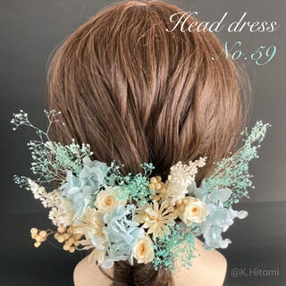 ヘッドドレス no.59 プラザ ドライフラワー ホワイトミニローズとブルー小花(ドライフラワー)