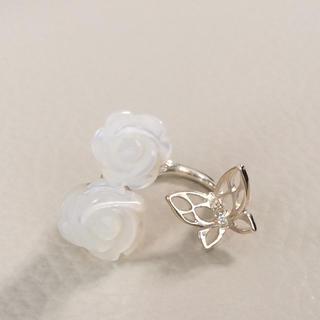 イマージュ(IMAGE)のシルバー925 美品!バラと蝶のリング(リング(指輪))