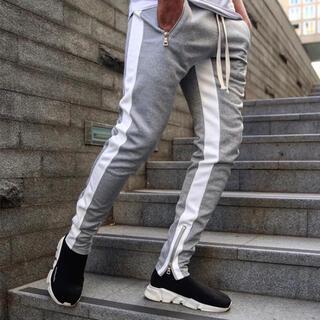 【M 新品】メンズ サイドライン スキニー ジョガーパンツ 灰色 グレー(その他)