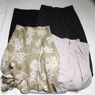 ANAYI - ■ANAYI... スカート パンツ レディース 黒 ライトグレー 緑花柄