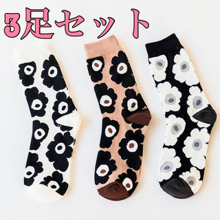 【新品】靴下 花柄 3枚セット 春物 レディース  韓国 北欧 海外 マリメッコ(ソックス)