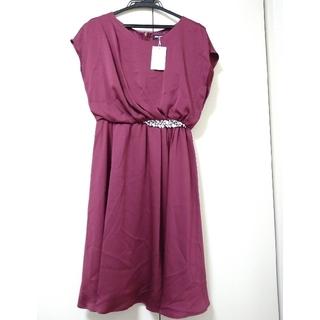 ストロベリーフィールズ(STRAWBERRY-FIELDS)のストロベリーフィールズワンピース 新品未使用 サイズ2 ローズ色パーティーワンピ(ミディアムドレス)