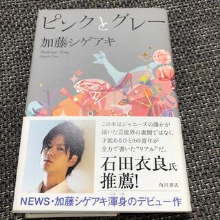 ニュース(NEWS)の【初版本】 加藤シゲアキ ピンクとグレ- NEWS(文学/小説)