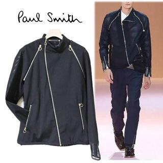 ポールスミス(Paul Smith)の《ポールスミス》新品 2Way メッシュ切替ライダースジャケット ベスト 黒 M(ライダースジャケット)