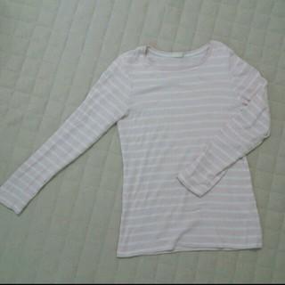 ジーユー(GU)のピンクボーダーTシャツ(Tシャツ(長袖/七分))