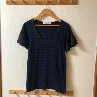 サカイラック(sacai luck)のsacai luck ボーダー Tシャツ カットソー ネイビー ボーダー(Tシャツ(半袖/袖なし))