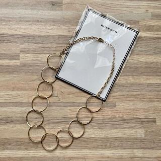 ローズバッド(ROSE BUD)の未使用品 ROSE BUD ローズバッド フープ 輪っか ネックレス ゴールド(ネックレス)