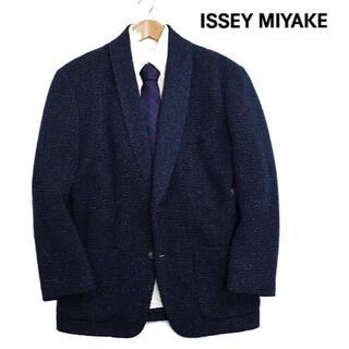 イッセイミヤケ(ISSEY MIYAKE)のイッセイミヤケ メンズ ショールカラーニットジャケット ネイビー(その他)