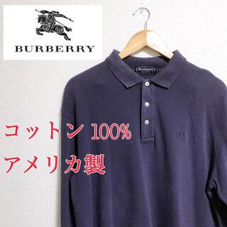 BURBERRY - BURBERRY 長袖ポロシャツ ネイビー コットン100%