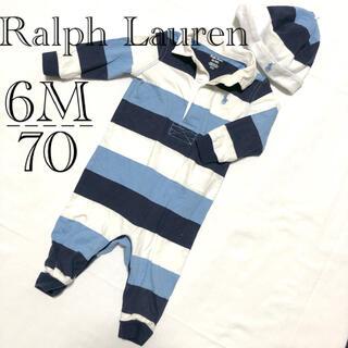 Ralph Lauren - 053▽Ralph Lauren▽帽子セット♪カバーオール 6M/70