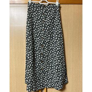 シマムラ(しまむら)の【美品】FUN Aライン ロングスカート ブラック 花柄 Fサイズ(ロングスカート)