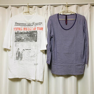 【2枚セット】7分袖・5分袖Tシャツ(Tシャツ/カットソー(七分/長袖))