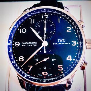 インターナショナルウォッチカンパニー(IWC)のIWC  ポルトギーゼ クロノグラフ 極美品 青文字盤 クロコベルト 未使用 (腕時計(アナログ))