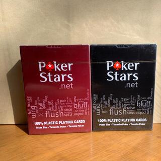 ポーカースターズ プラスチックトランプ 防水 黒赤2個セット(トランプ/UNO)