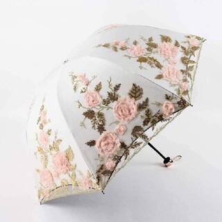レメルヴェイユーズラデュレ(Les Merveilleuses LADUREE)の薔薇の立体刺繍の日傘【1717】(傘)